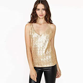 Sleeveless T-shirt Vest Sexy Sling Slim V-neck Gold Sequin Vest Female