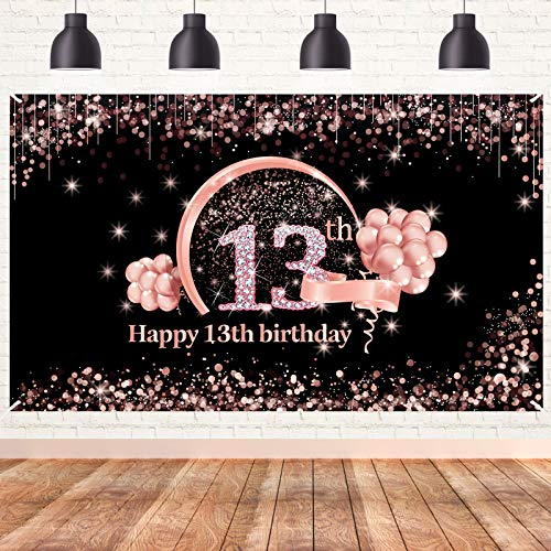Lnlofen 13th Birthday Banner Decorations for Girls, Extra Large 13 Year Old Birthday Party Decor Supplies, Rose Gold Happy Thirteen Birthday Sign Poster Photo Booth Props