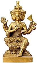 Pure Brass Feng Shui Thai Four-Faced Buddha Statues Religious Temple Decor, Decorative Collectibles Crafts Figurines