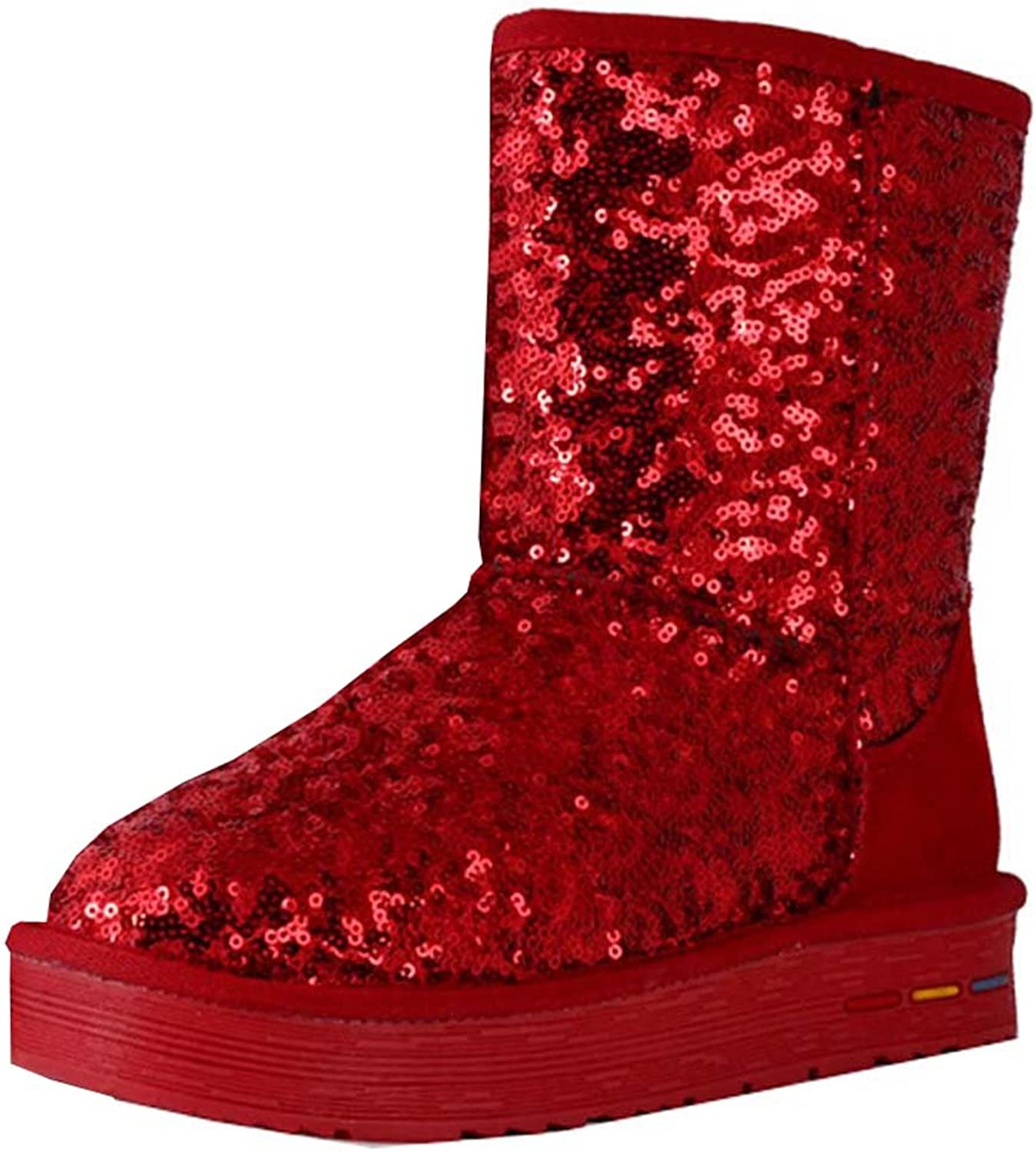 Cotton sequined boots winter boots leather snow boots women snow cotton warm