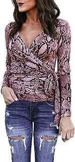 Qootent 2019 Women V-Neck Long Sleeve Shirt Snake Print Casual Bandage Wrap Top