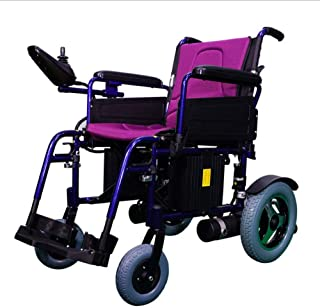 SLRMKK Silla de Ruedas Plegable portátil, Silla de Ruedas eléctrica, Scooter discapacitado para Ancianos Silla de Ruedas automática Inteligente portátil pequeña Plegable, Púrpura