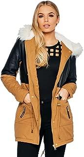 Ladies Panelled Faux Leather White Fur Parka Coat US Size 6-12