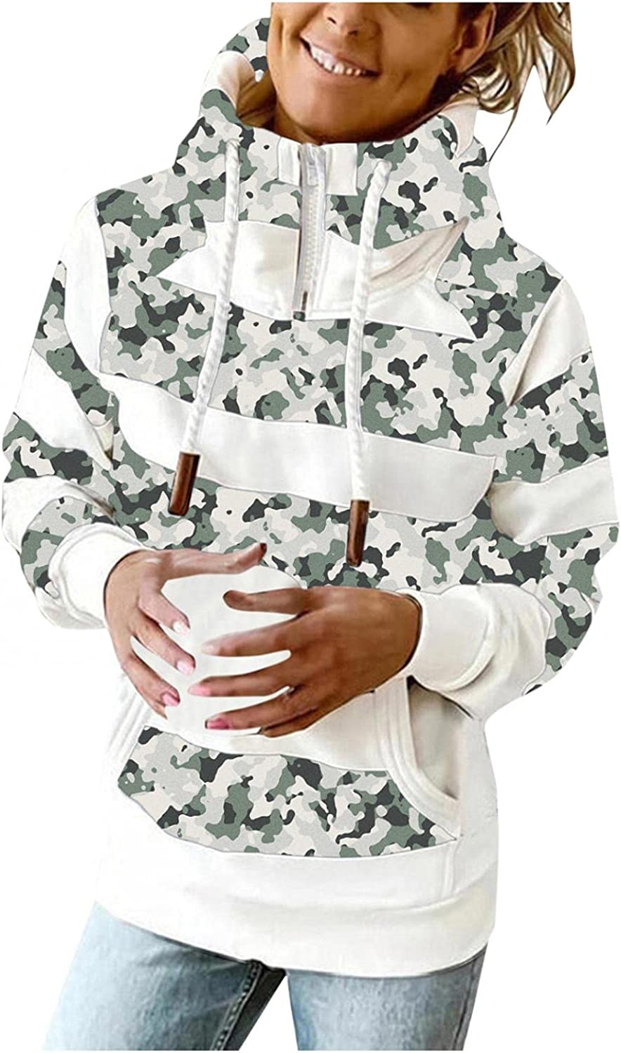 AODONG Hoodies for Women with Designs Casual Striped Zip Up Hooded Pullover Lightweight Long Sleeves Shirts Tops