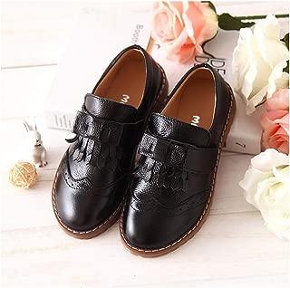 MINGAZ Fringed Children's Shoes, Student Shoes, Girls' Leather Shoes, Girls' Shoes (Color : Black, Size : 26EU)