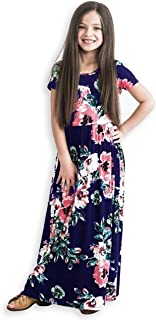 Girls Maxi Dress,Kids Floral Casual T-Shirt 3/4 Sleeve Dresses with Pocket for Girls 6-12T
