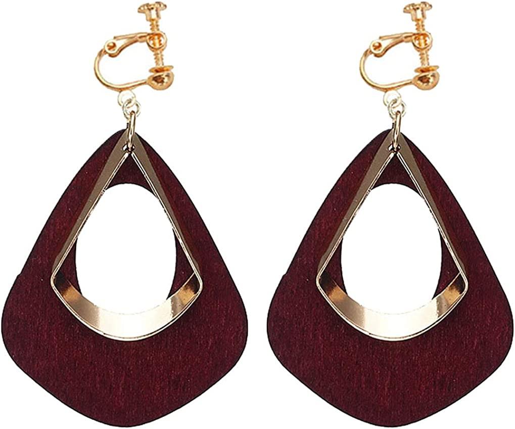 Clip on Non Pierced Earrings Wooden Teardrop Dangle Drop for Women Girl Fashion Ears Jewelry Geometric Layered Dangling Boho Style Princess Gifts Party Dress Up