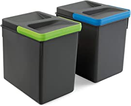 Emuca, Waste Sorting Cut-Out Base, Set of 2 Bins Height 216mm with 6 litres Capacity, Grey, H 216 mm (2 x 7 L)