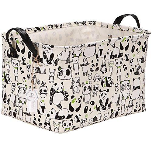 Sea Team 16.5' x 11.8' x 9.8' Square Natural Linen & Cotton Fabric Storage Bins Shelves Storage Baskets Organizers for Nursery & Kid's Room (Panda)