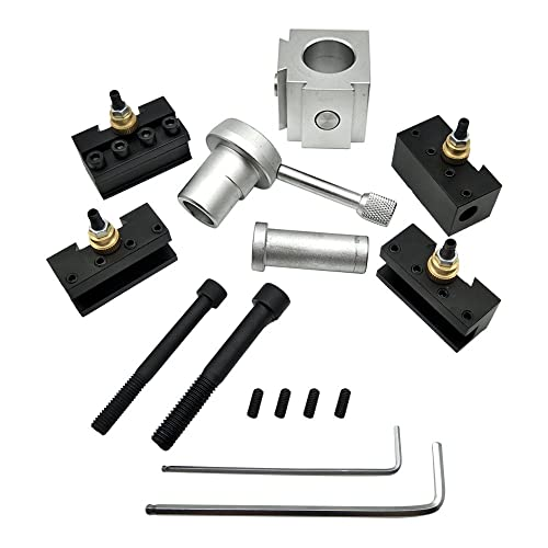 KKmoon Mini CNC Quick Change Tool Lathe Tool Holder Post Cutter Holder Screw Kit Set Boring Bar Turning Facing Holder Wrench