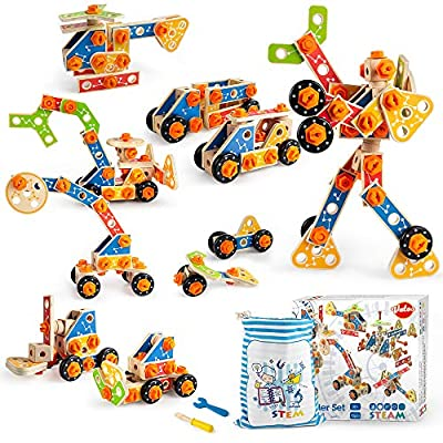 VATOS Wooden Building Toys,STEM Construction Tinker Tool Kit,72 PCS Learning Educational Set for Kids, Wood Building Blocks Engineering Robot Vehicles Gift for Boys Girls Age 3 4 5 6 7 8 9 10 Year Old