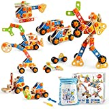 VATOS Wooden Building Toy, Construction Toy STEM Learning Toys Building Kit 72 PCS, Fun Educational Building Toy Construction Set for Boys and Girls Ages 3 4 5 6 7 8 9 10 Year Old Best Toy Gift