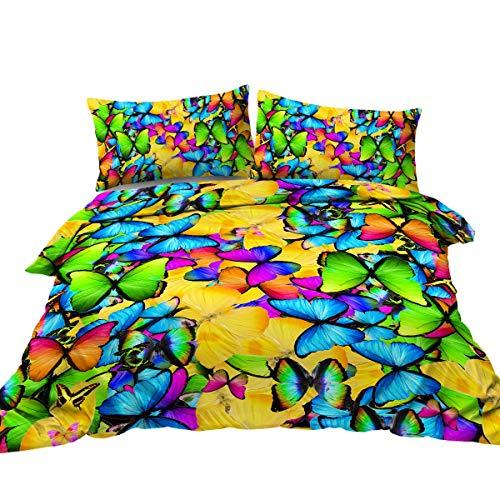 Blå grön gul fjärilar påslakan sängset 3 st regnbåge fjärilar påslakan sängkläder set 3D flickig fjäril sängkläder (enkel storlek)