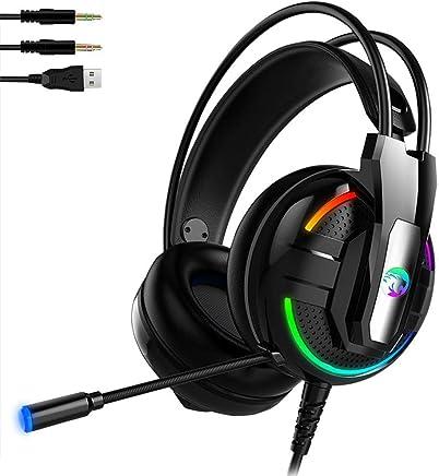 Jinclonder Auricolare Stereo A18 per Controller PS4, PC, Xbox One, Cuffie con Microfono a cancellazione di Rumore con Microfono, Luce LED, Surround Bassi, Cuffie di Memoria morbide per Laptop Mac - Trova i prezzi più bassi