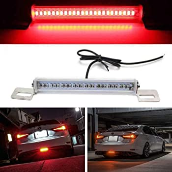 iJDMTOY (1) Universal Fit Brilliant Red 24-SMD LED Light Bar Compatible With Car As Rear Fog Light or 3rd Brake Tail Lamp