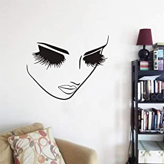 Art Beauty Women Face Wall Decor Sticker Closed Eye Lashes Wall Decor Salon Shop Window Decoration Mural A-94 (57X45CM)