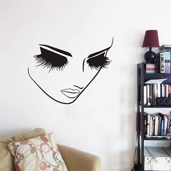 Art Beauty Women Face Wall Decor Sticker Closed Eye Lashes Wall Decor Salon Shop Window Decoration Mural A 94 57X45CM