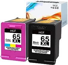 HGZ 2 Pack Remanufactured Ink Cartridge Replacement for HP 65 65XL for Envy 5055 5058 5052 Deskjet 2655 2622 Deskjet 3755 3758 3752 3732 3730 3722 3721 3720 (1 Black, 1 Tri-Color)