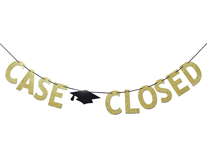 Case Closed Gold Glitter Banner, Law School Graduation Party Supplies Bunting Photo Booth Props Sign