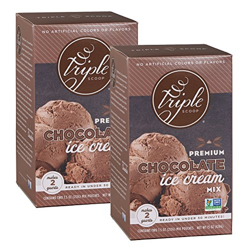 Triple Scoop Ice Cream Mix, Premium Chocolate, starter for use with home ice cream maker, non-gmo, no artificial colors or flavors, ready in under 30 mins, makes 4 qts (2 15oz boxes)