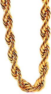 TUOKAY 12mm Heavy Huge Gold Rope Chain Necklace for Rapper, Sparkling Big 18K Gold Rope Chain for Rap Gangsta, 24