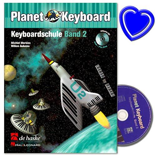 Planet Keyboard Band 2 - Keyboardschule mit CD von Michiel Merkies - mit bunter herzförmiger Notenklammer