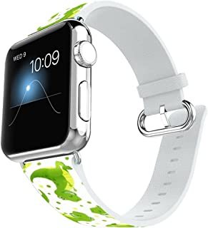 Apple Watch Band 38MM 100% Leather + Stainless Steel Connector iWatch Bands for Apple Watch 38mm - Cartoon dinosaur pattern