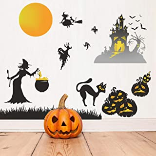 Happy Halloween Wall Stickers, Cemetery Castle Moon Cats Ghost Witch and Bats Wall Decals, Pumpkins Spooky Skeleton for Li...