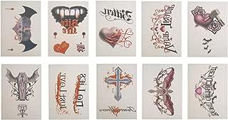 10 Larger Vampire Theme Temporary Tattoos - Set of 10 Tats
