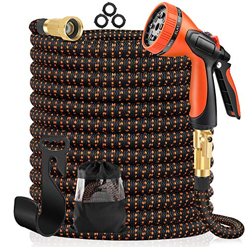JIOPDSO Expandable Garden Hose 100ft, Water Hose with 10 Function Spray Nozzle, Durable 3-Layer Latex Core & 3/4 Inch Solid Brass Fittings, Lightweight No-Kink Flexible Hose for Watering and Washing