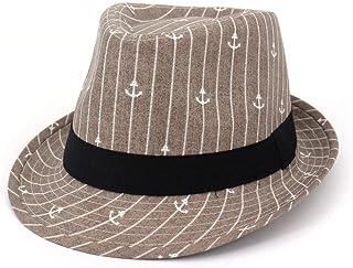 LaVintageエレガントウィンターウールフェドラ ファッション日帽子野生のジャズ帽子帽子男性女性サンフェドラ帽子カップル日焼け止めプリント海賊アンカーバイザー 女性の女の子の夏の麦わら帽子 (色 : Light coffee, サイズ : 56-58CM)