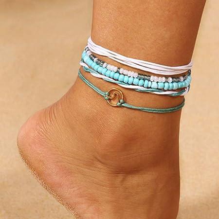 Simsly Cavigliera in tessuto, stile boho, con turchesi, con perline, accessori per piedi, da donna/ragazzae (blu/5 pezzi)