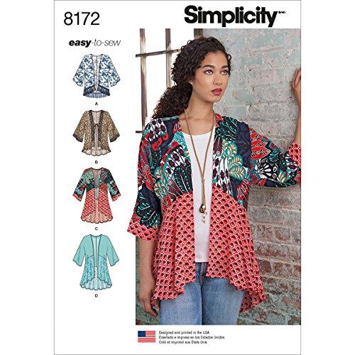 Simplicity 8172 Easy to Sew Misses' Kimono Sewing Pattern Kit, Code 8172, Sizes XXS-XXL
