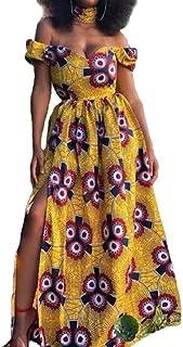 Jofemuho Womens Summer Off - Hombro Vestido Maxi Estampado Floral Playa Africana