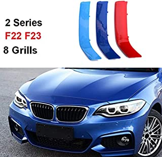 carado for BMW 2 Series F22 F23 218i 220i 228i M235i 2014-2018 (8 Grille) M Color BMW Grill Stripes Front Grille Grill Cover Insert Trim Clips 3Pcs