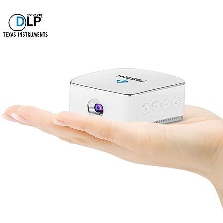 内蔵スピーカとの無線接続DLNA / Miracast /エアプレイ対応する電池とFOSONNモバイルDLPプロジェクタ日本語説明書 ホワイト