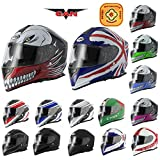 VCAN V127 Full Face Motorcycle Helmet Double Sun Visor ACU Gold stamped Razor Red L