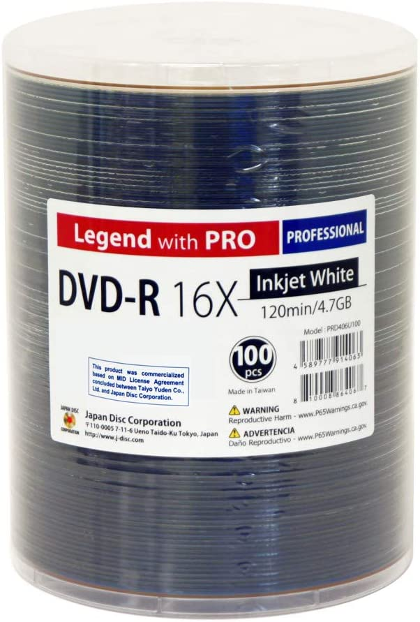 Courier shipping Albuquerque Mall free 100 Pack Professional DVD-R Legend with Pro TY Yuden Taiyo Techn