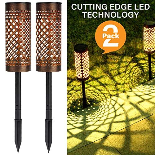 Solarleuchten Garten Metall, Solarlampen für Außen Garten, LED Solar Gartenleuchten Gartenlicht Deko Solar Laterne Wasserdicht IP65 für Außen Terrasse Rasen Weg - 2 Stück