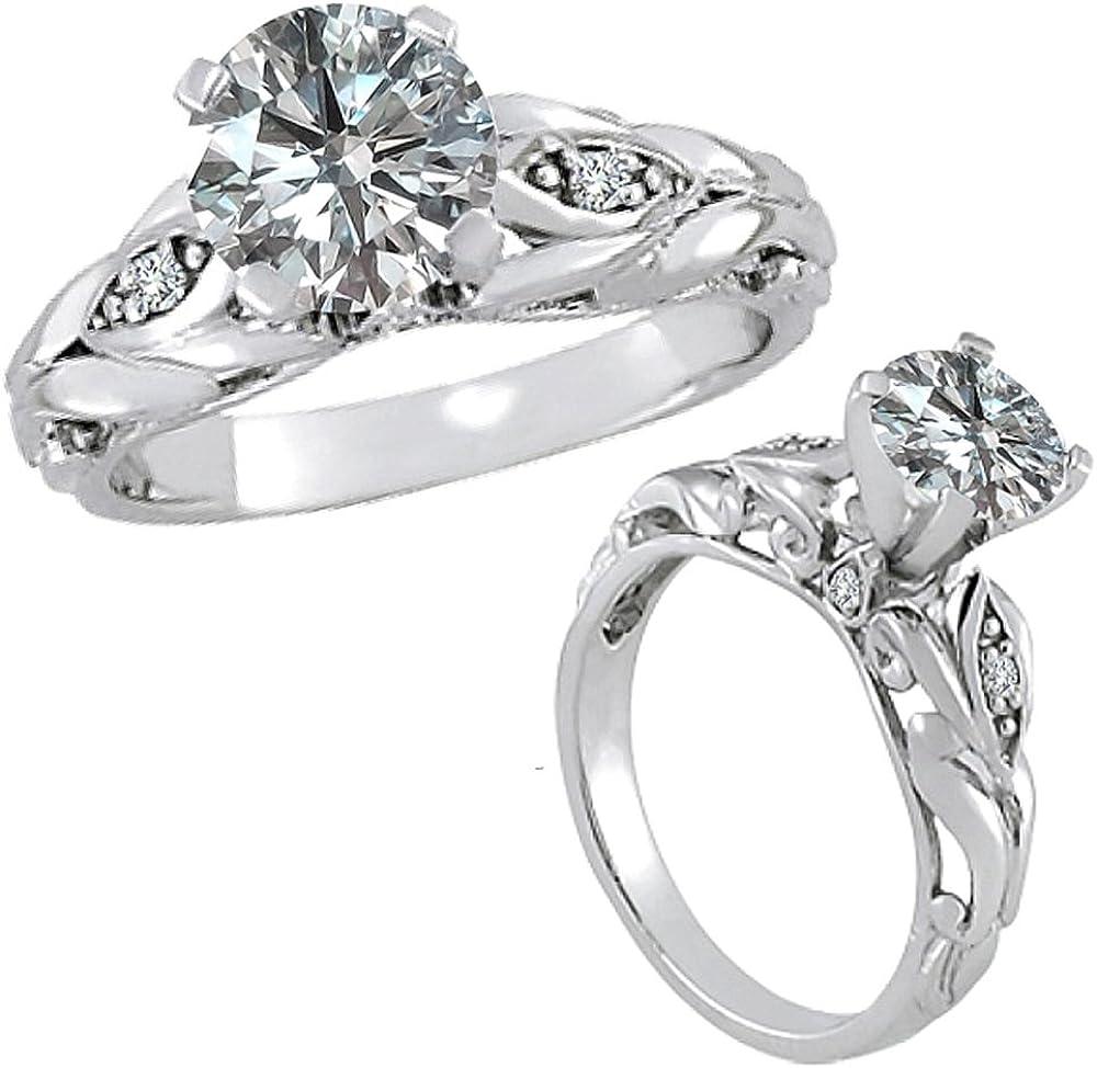 0.25 Carat G-H Diamond Fancy Designer Vintage Solitaire Engagement Promise Women Ring 14K White Gold
