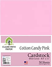 Cotton Candy Pink Cardstock - 8.5 x 11 inch - 65Lb Cover - 50 Sheets - Clear Path Paper