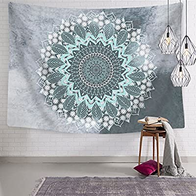 Likiyol Tapestry Mandala Hippie Bohemian Tapestries Wall Hanging Flower Psychedelic Tapestry Wall Hanging Indian Dorm Decor for Living Room Bedroom (Teal, 51.2 x 59.1 inches)