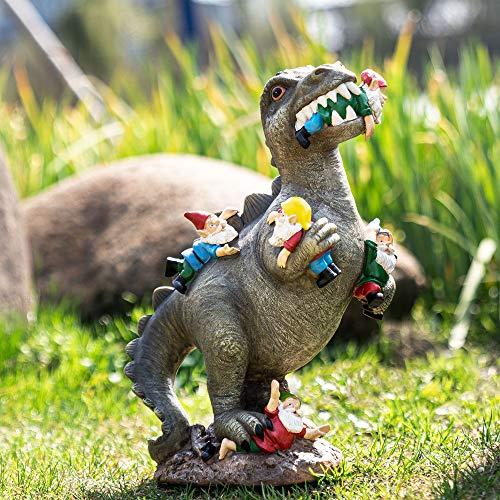 SOWSUN Garden Gnome Statues Outdoor Decor, Dinosaur Eating Gnomes Garden Art Outdoor for Fall Winter Garden Decor ,Outdoor Statue for Patio,Lawn ,Yard...