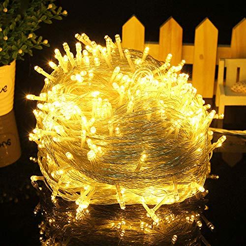 MOVEONSTEP 500 LED Guirnaldas de Luces 55m Cortina Luces 8 Modos Luces de Cadena para Fiestas Jardín Navidad Halloween Boda Iluminación Decorativa(Blanco Cálido)