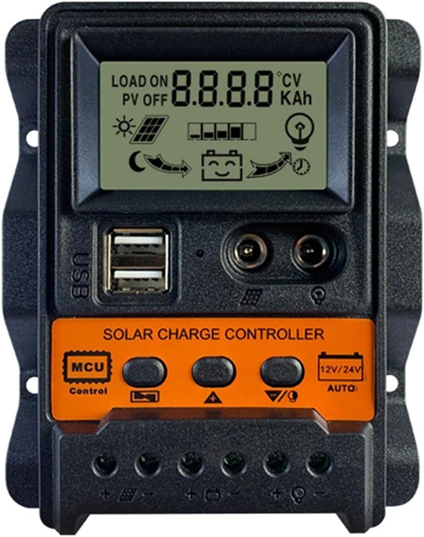 ZXC 10A 20A 30A Controlador de Carga Solar 12V 24V Dual USB Panel Solar Controlador DE BATERÍA REGULADOR DE Cargador DE CARGE DE Memoria DE ALIMENTACIÓN (Current : 30A)