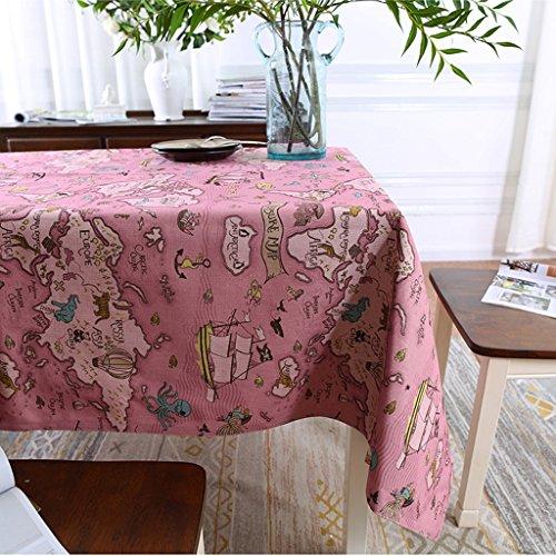 Mediterraner Stil Tischdecke Baumwolle Leinen Tisch Couchtisch Esstisch Globetrotter Kunst Dekoration Tuch ( Color : A , Size : 145x100cm )