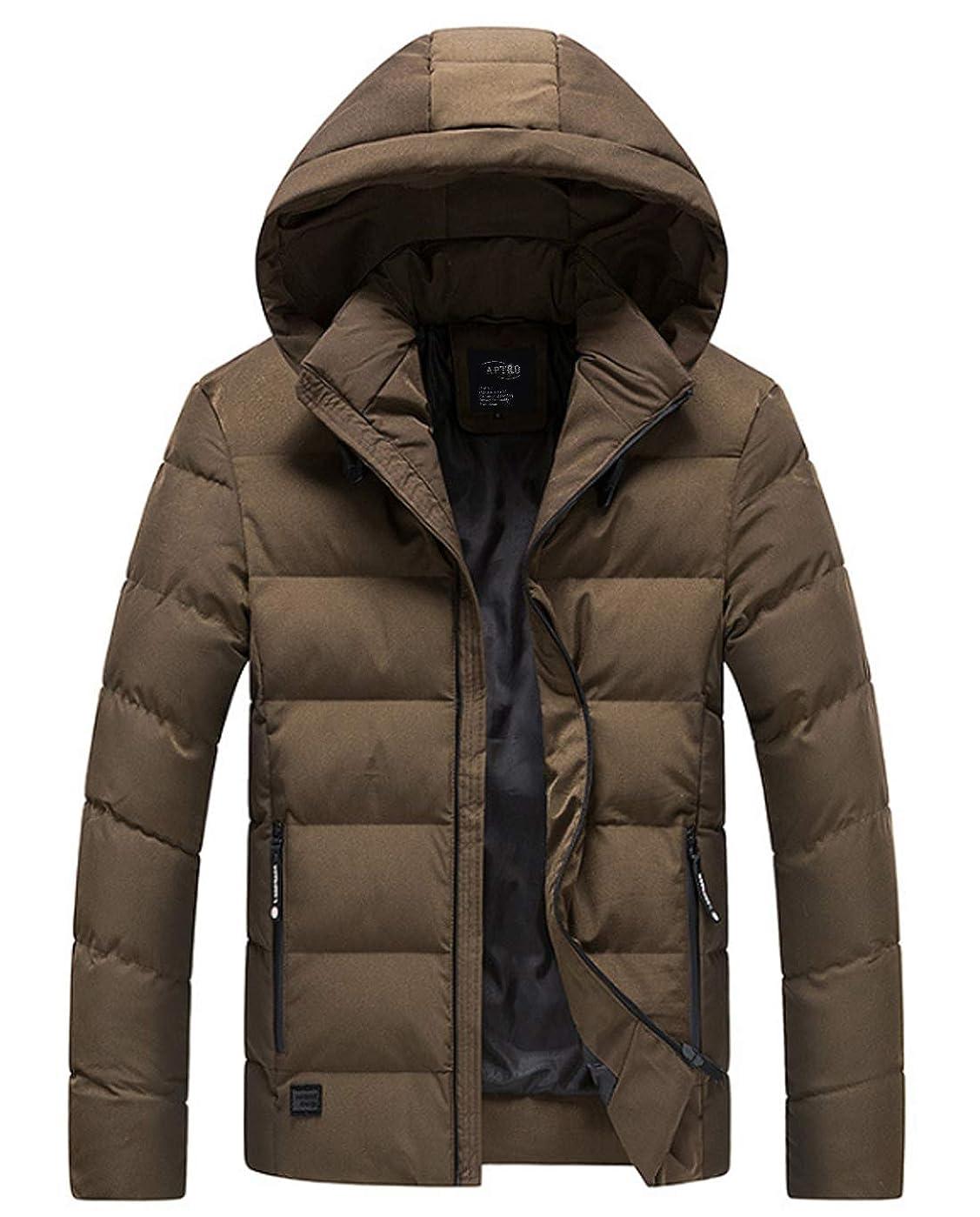 上昇エアコン読書APTRO(アプトロ)メンズ ダウンコート ダウンジャケット 中綿ダウン 秋冬コート 分厚い アウターコートフード着脱可 暖かい 撥水 防寒コート