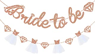 pinkblume Rose Gold Double Sided Glitter Bride to Be Diamond Banner,3D Wedding Dress Diamond Bride Garland for Bridal Show...