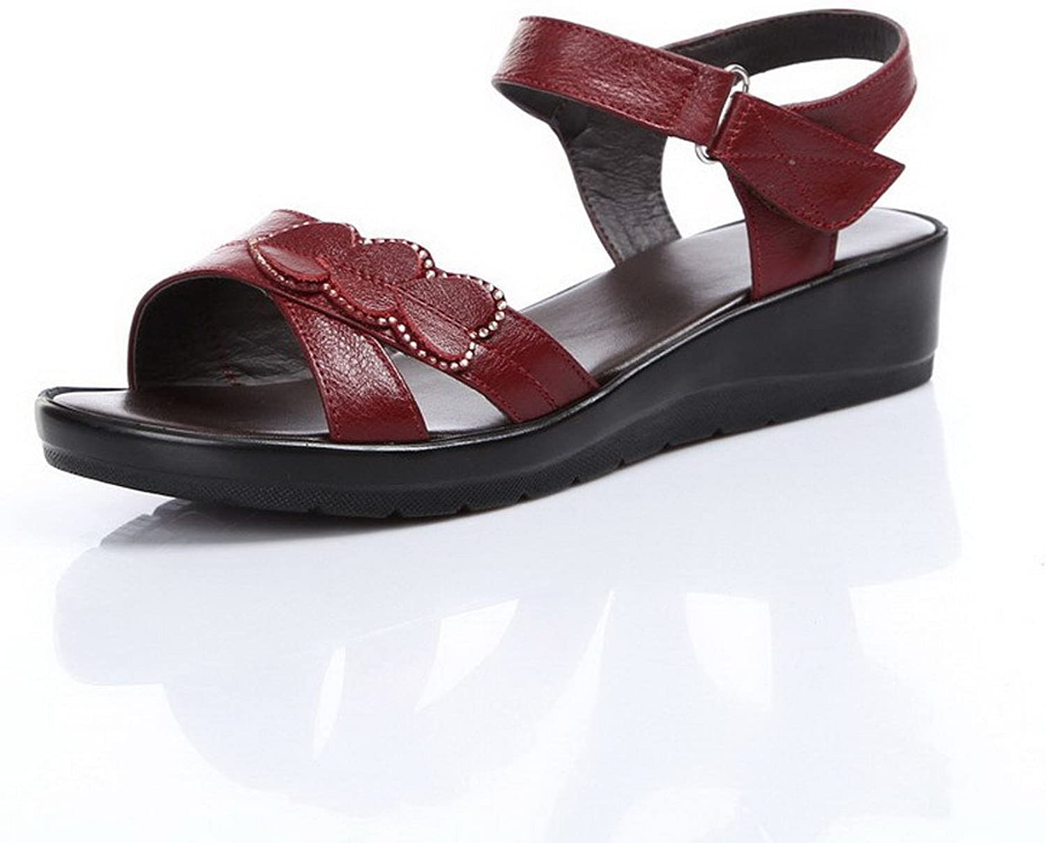 AmoonyFashion Women's Open-Toe Hook-and-Loop Cow Leather Solid Low-Heels Sandals