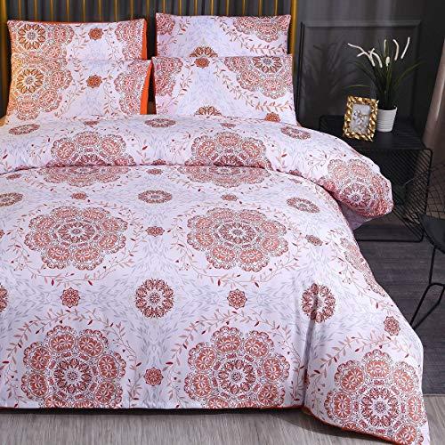 Renforce Bed Linen Set Microfibre Boho Indian Duvet Cover and Pillowcase Set with Zip Mandala Ethnic Super Soft 3-Piece Set Vintage bed linen set., Orange, 140 x 200 cm